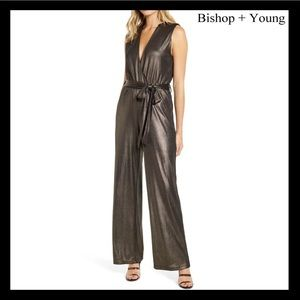 BISHOP + YOUNG SLEEVELESS METALLIC JUMPSUIT